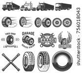 set of tire service design... | Shutterstock .eps vector #756018043