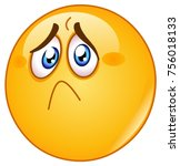 hurt and sad emoticon | Shutterstock .eps vector #756018133