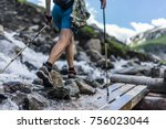 woman wearing outdoor boots and ... | Shutterstock . vector #756023044