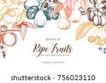 vintage frame with ripe fruits... | Shutterstock .eps vector #756023110