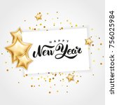 gold star happy new year... | Shutterstock .eps vector #756025984