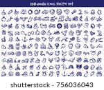 vector doodle icons set. stock... | Shutterstock .eps vector #756036043
