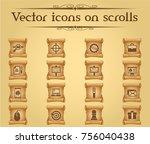 marketing vector icons on... | Shutterstock .eps vector #756040438