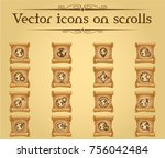 globes vector icons on scrolls... | Shutterstock .eps vector #756042484