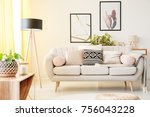 patterned pillow on a beige... | Shutterstock . vector #756043228