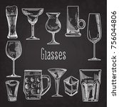 set of different drink glasses. ... | Shutterstock .eps vector #756044806