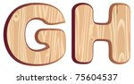 G  H  Wood Font   Isolated...