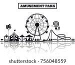 Amusement Park Black Silhouett...