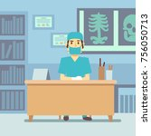 surgeon doctor sitting at the... | Shutterstock .eps vector #756050713