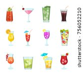 flat icons set of juice glasses | Shutterstock .eps vector #756052210