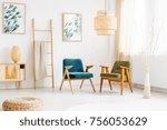 rattan lamp above retro... | Shutterstock . vector #756053629