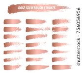 set of brushes  paints  strokes ... | Shutterstock .eps vector #756056956