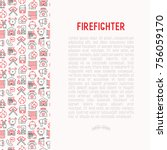 firefighter concept with thin... | Shutterstock .eps vector #756059170