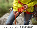 climber wearing safety harness... | Shutterstock . vector #756060400