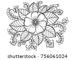 coloring page of monochrome... | Shutterstock . vector #756061024