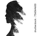 double exposure of woman in... | Shutterstock . vector #756064600