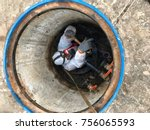 to work in confined spaces... | Shutterstock . vector #756065593