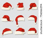 santa claus hat set isolated on ... | Shutterstock .eps vector #756066394