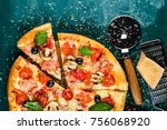 traditional italian pizza on a... | Shutterstock . vector #756068920