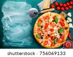traditional italian pizza on a... | Shutterstock . vector #756069133