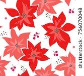christmas winter poinsettia... | Shutterstock .eps vector #756070048