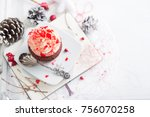 cupcake with white and red...   Shutterstock . vector #756070258