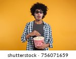 portrait of a scared afro... | Shutterstock . vector #756071659