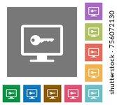 secure desktop flat icons on... | Shutterstock .eps vector #756072130