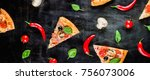 pizza slices on a dark metallic ... | Shutterstock . vector #756073006