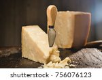 parmesan cheese composition  on ... | Shutterstock . vector #756076123