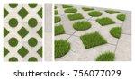 seamless texture of sidewalk... | Shutterstock . vector #756077029