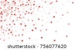 beautiful confetti hearts... | Shutterstock .eps vector #756077620