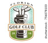 golf clubs in bag vector logo...   Shutterstock .eps vector #756078103