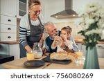 young girl having breakfast... | Shutterstock . vector #756080269