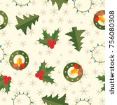winter holidays seamless... | Shutterstock .eps vector #756080308