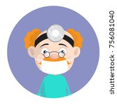 cartoon old surgeon with face... | Shutterstock .eps vector #756081040