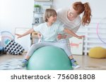 physical therapist assisting... | Shutterstock . vector #756081808