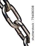 closeup of old metal chain links | Shutterstock . vector #75608338