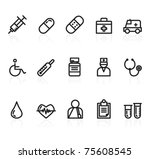 medicine icons | Shutterstock .eps vector #75608545
