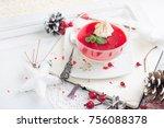 red fruit panacotta with green...   Shutterstock . vector #756088378