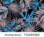 tropical seamless pattern with... | Shutterstock . vector #756089680