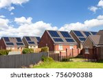 english houses with solar... | Shutterstock . vector #756090388