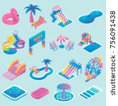 water park vector colored icon... | Shutterstock .eps vector #756091438