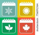 seasons calendar color icons... | Shutterstock .eps vector #756091564