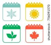 seasons calendar color icons...   Shutterstock .eps vector #756091570