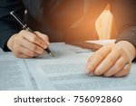businesswoman signing terms and ... | Shutterstock . vector #756092860
