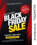 black friday sale banner layout ... | Shutterstock .eps vector #756094759