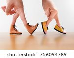couple hand finger walking with ... | Shutterstock . vector #756094789