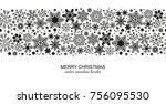 monochrome seamless snowflake... | Shutterstock .eps vector #756095530