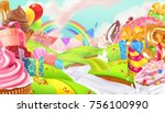 happy holiday. cupcake  gift... | Shutterstock .eps vector #756100990